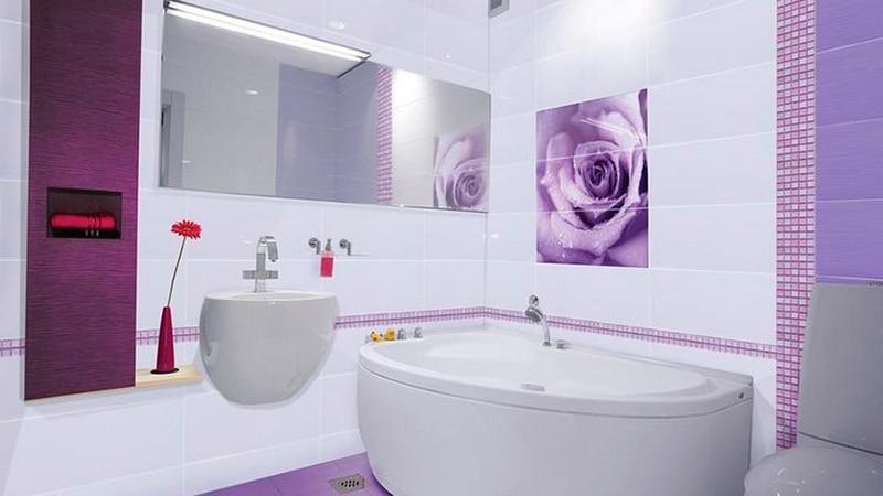 Фото дизайн плитка с цветами ванной комнаты