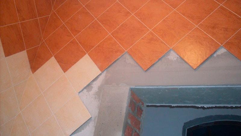 Вариант диагональной укладки плитки