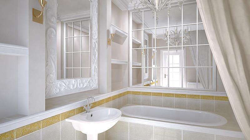 Светлое покрытие стен маленькой ванной комнаты