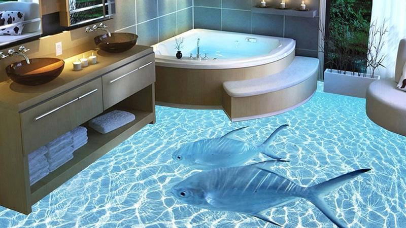 Отделка пола в ванной 3d плиткой