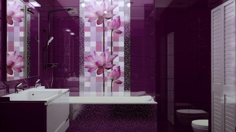 Глубокий лиловый цвет плитки в стиле модерн