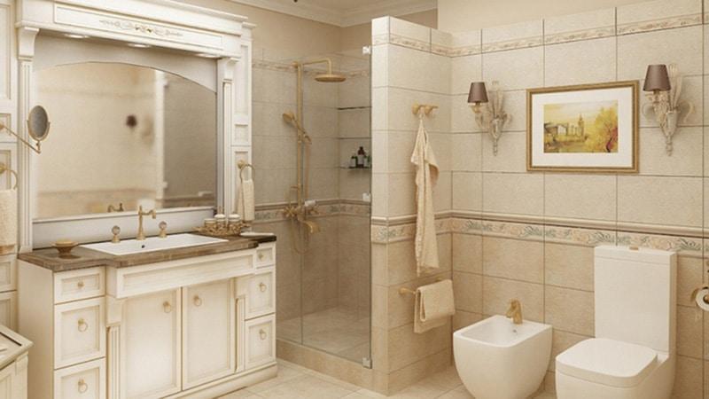 Классический интерьер ванной в бежевых тонах