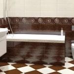 Дизайн кафельной плитки в ванной на полу