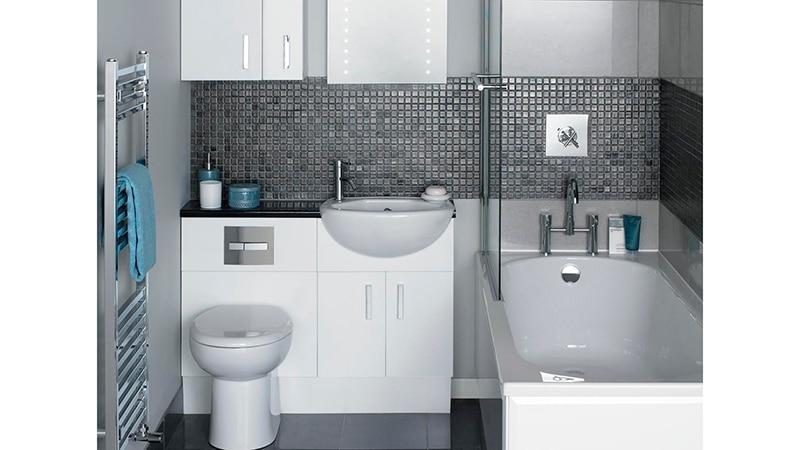 Оформление плиткой небольшой ванной комнаты