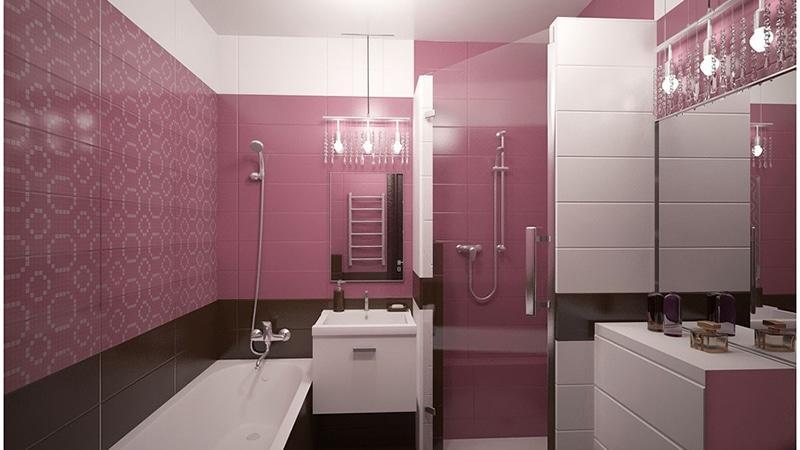 Сливовый тон плитки в дизайне ванной комнаты