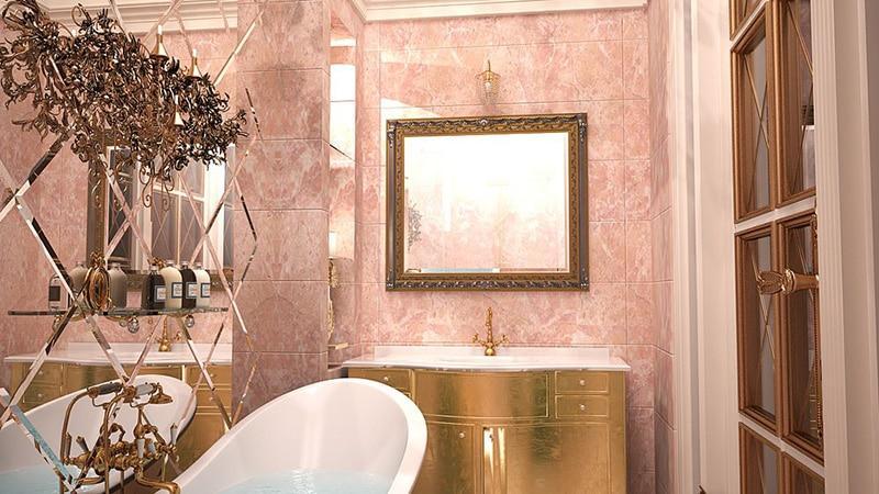 Кафель для ванной в сочетании с зеркалом