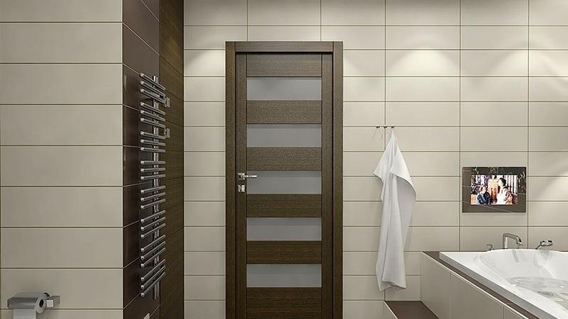Ламинированный дверной блок в ванную комнату