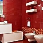 Оформление ванной красной плиткой