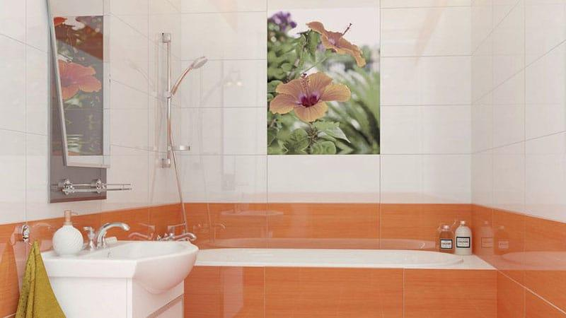 Оранжевая плитка для ванной комнаты