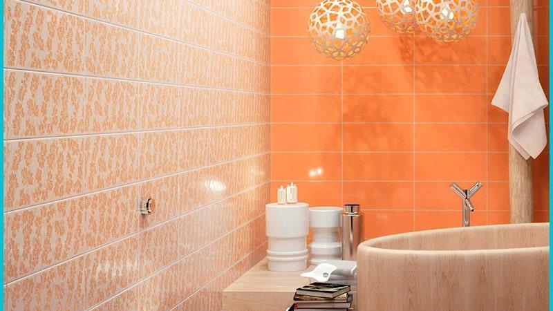Отделка ванной в оранжевом тоне