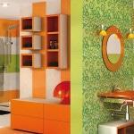 Комбинации с оранжевой плиткой для ванной