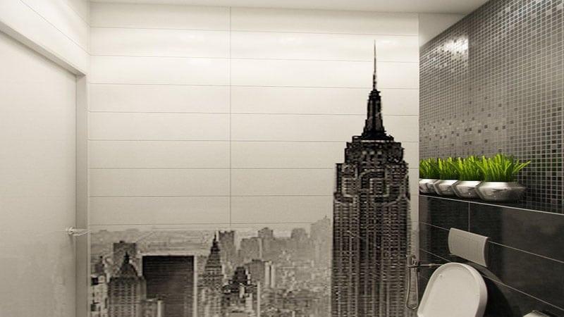 Дизайн туалета с использованием фотопечати на всю стену