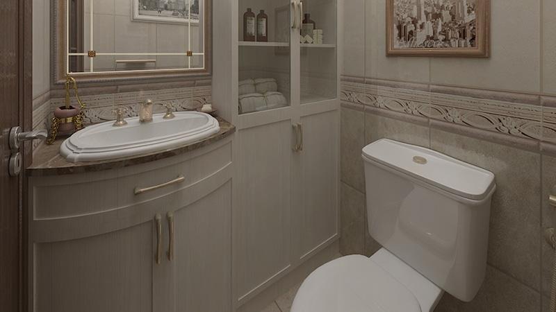 Туалет в хрущевке в классическом стиле