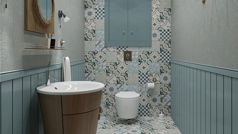 Дизайн плитки для туалета в стиле прованс