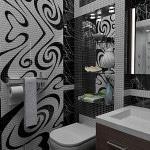 Сочетание белого и черноготонов плитки в дизайне арт-деко