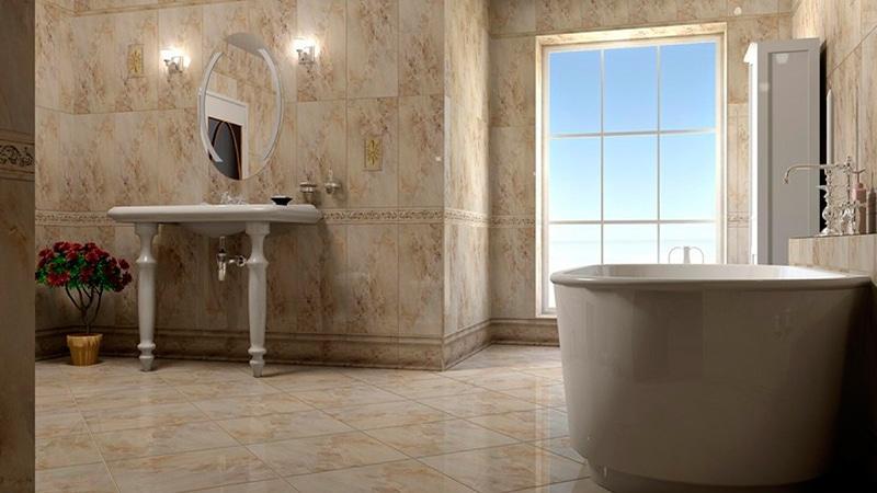 Мраморная плитка в ванной
