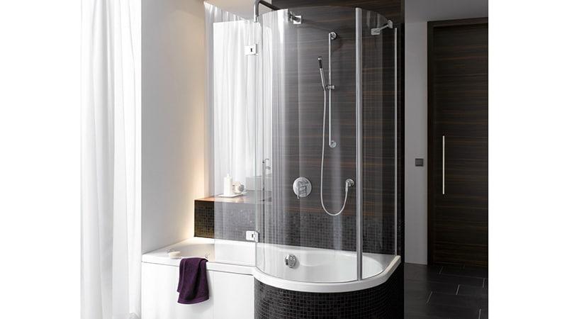 Пластиковая шторка для ванны необычной формы