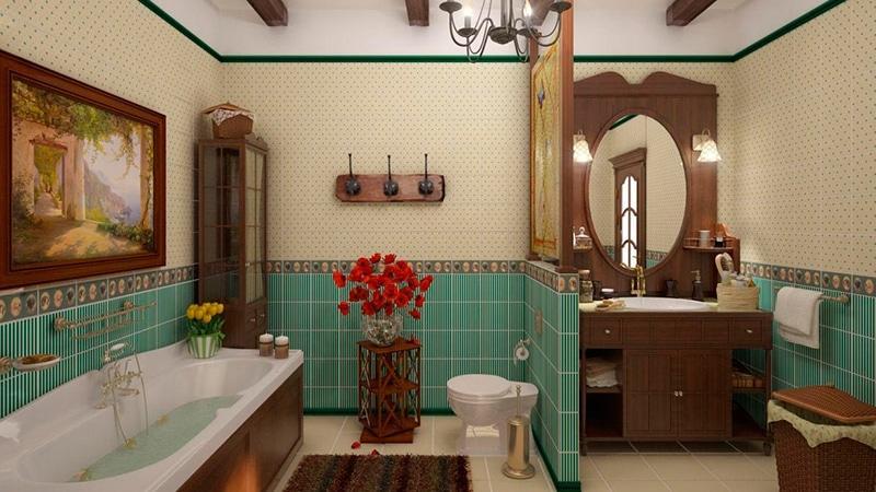 Изысканный стиль кантри в ванной