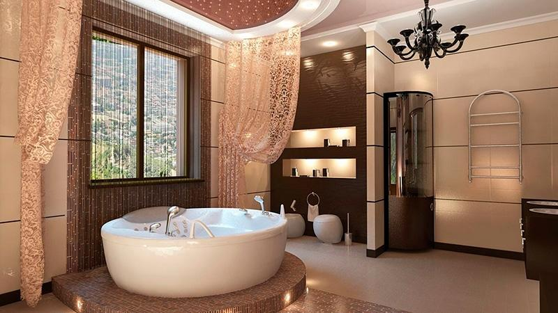 Стильное оформление дизайна ванной комнаты