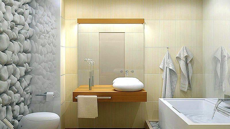 Зеркало с ящиками в ванной комнате