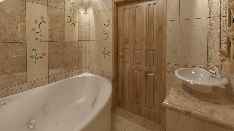 Дизайн угловой ванной комнаты