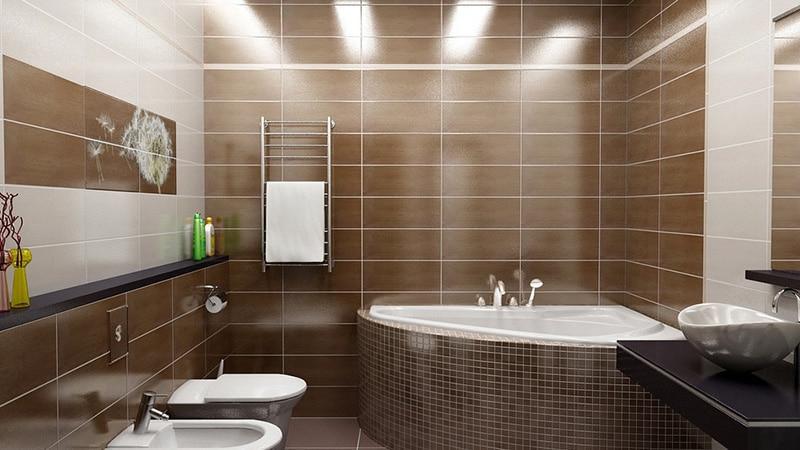 Оформление помещения санузла с угловой ванной