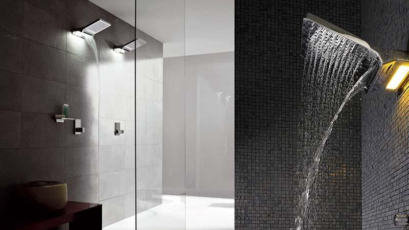 Дизайн ванных комнат с тропическим душем