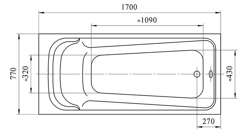 Схема размеров акриловой ванны