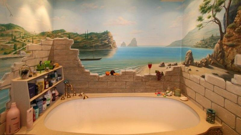 Панно на стенах ванной комнаты