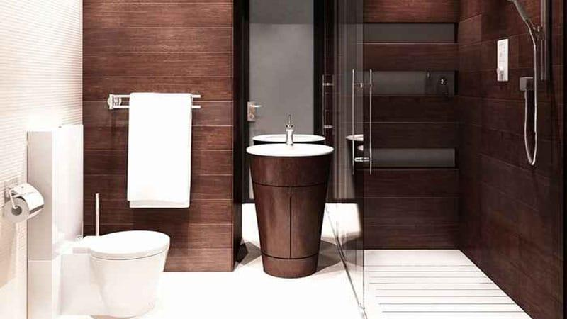 Современный интерьер маленькой ванной