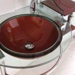 Стеклянный умывальник для ванной комнаты
