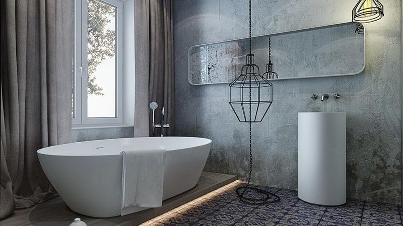 Бетонная отделка ванной в стиле лофт