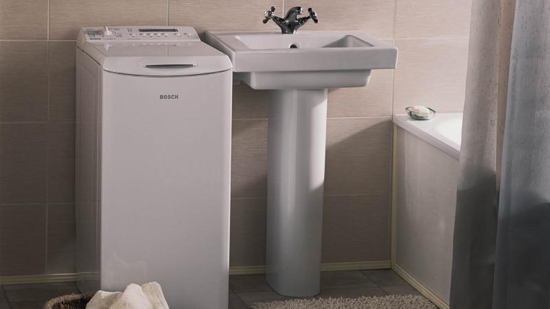 Маленькая стиральная машина в ванной комнате дизайн
