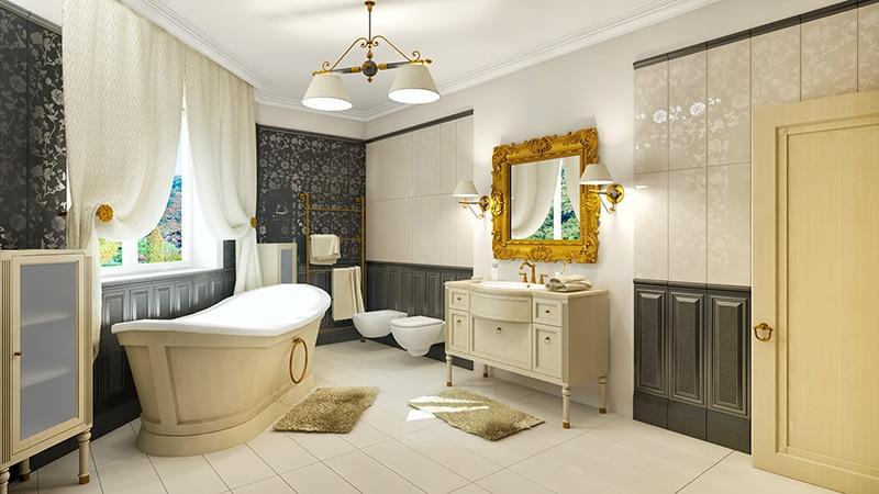 Классическая меблировка ванной комнаты