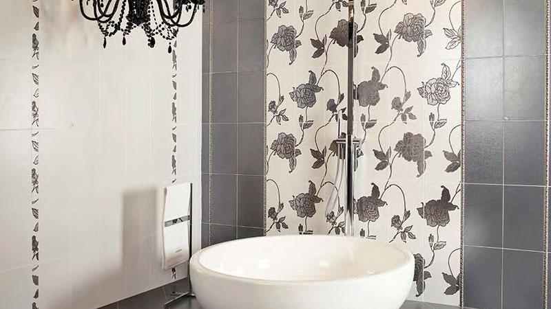 Рисунок из плитки в ванной комнате