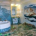 Фактурный пол в морской тематике санузла